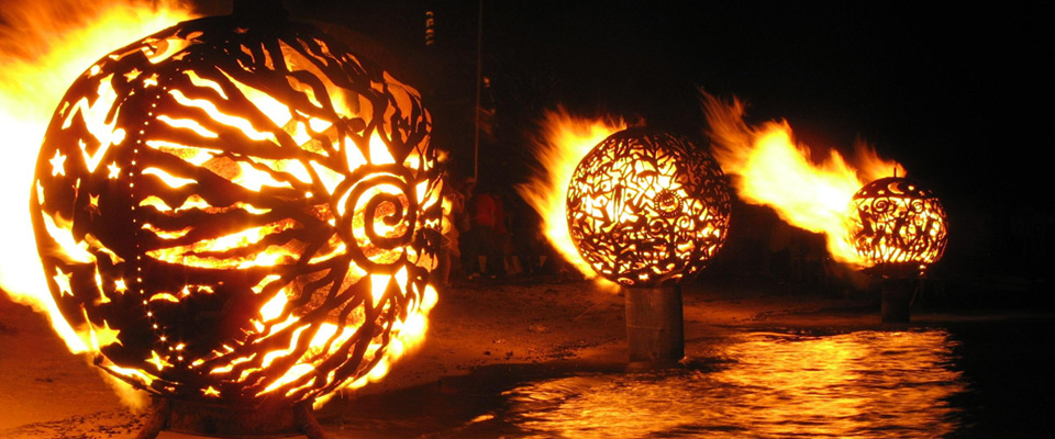 Fire Ball Sculpture On Water