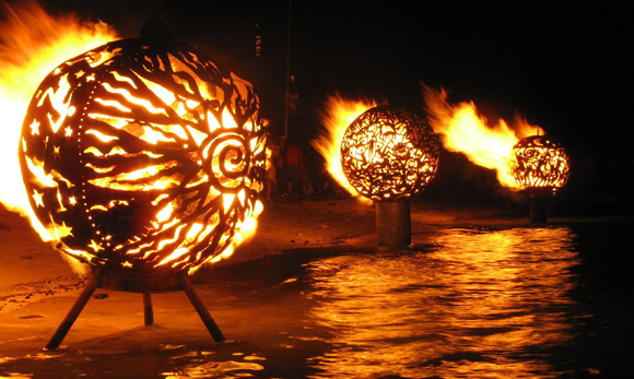 187 Fire Ball Sculpture On Water